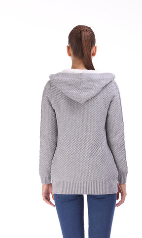 35728 Cabels Textured , Hoodie , Wood Buttons , Fur Interior - Grey