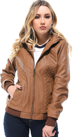 Leather Hooded Neck Camel Jacket