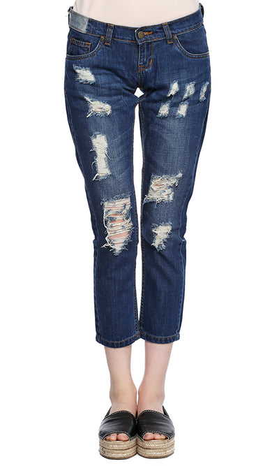 35743 Ripped Denim - Dark Blue
