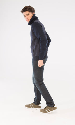35877 Casual Sweatshirt - Navy Blue & Teal