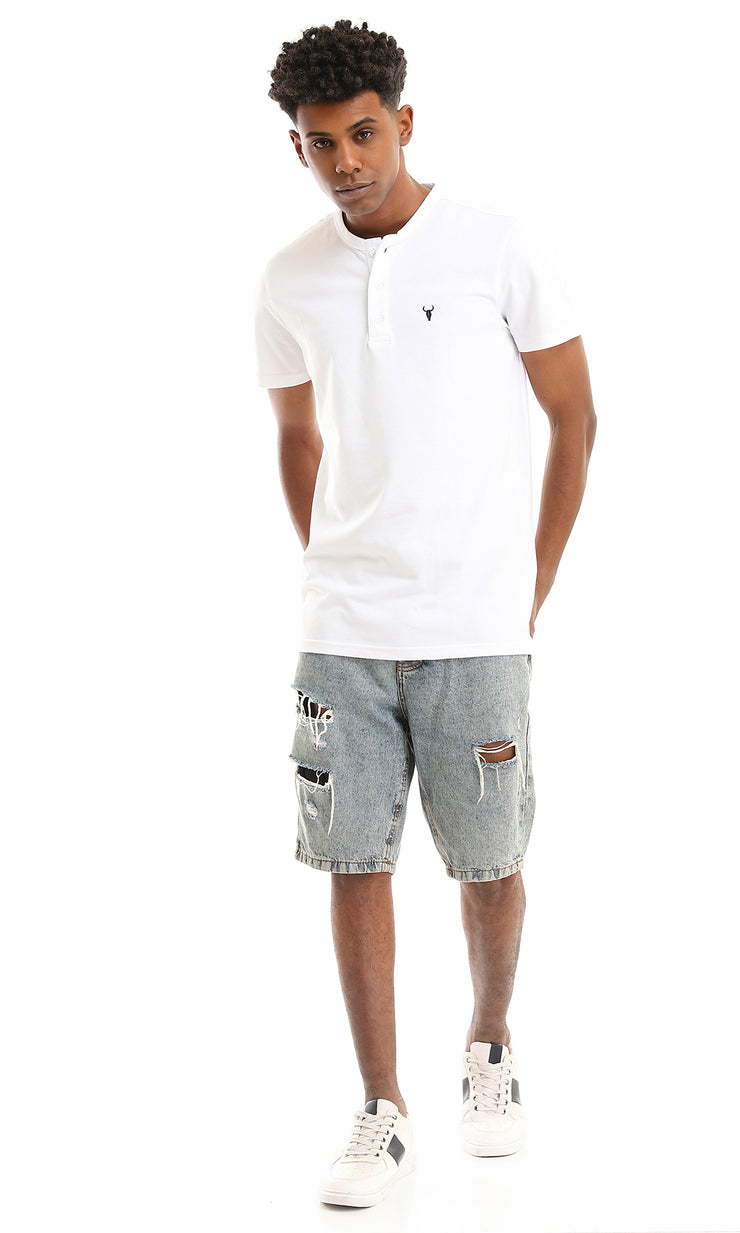 35900 Buttoned Neck White Pique Basic Henley Shirt