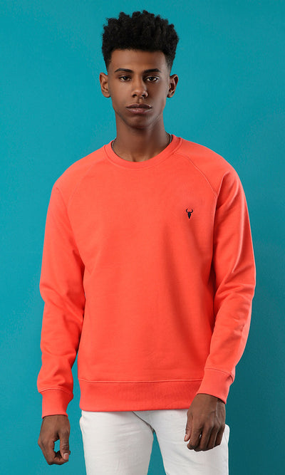 35946 Solid Round Coral Basic Slip On Sweatshirt