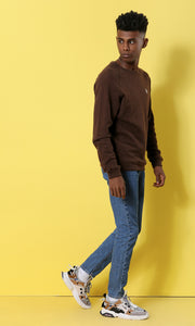 35948 Colorful Heather Round Neck Basic Sweatshirt - Brown