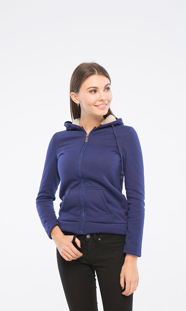 35970 Plain Classic Zipped Dark Blue Winter Basic Sweatshirt