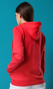 35973 Plain Casual Zipped Red Basic Sweatshirt