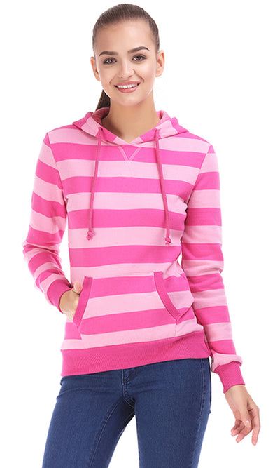 38014 Printed Hooded Sweatshirt - Pink