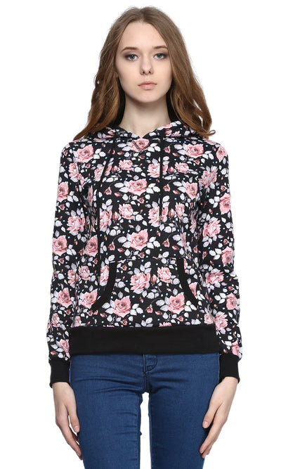 38018 Printed Hooded Sweatshirt - Black
