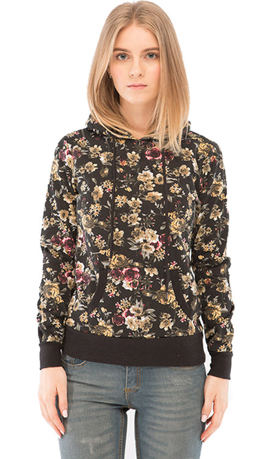 38022 Floral Sweatshirt - Black