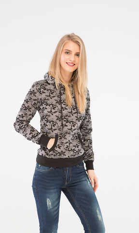 38085 Floral Sweatshirt - Grey & Black