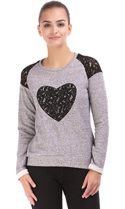 38099 Lace Sweatshirt - Grey & Black