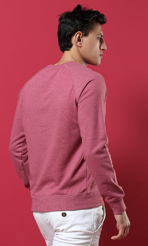 38117 Heather Burgundy Basic Casual Sweatshirt