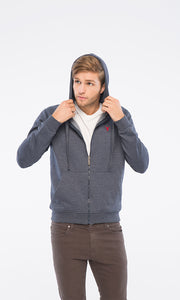 38124 Long Sleeves Basic Zipped Hooded Sweatshirt - Heather Navy Blue