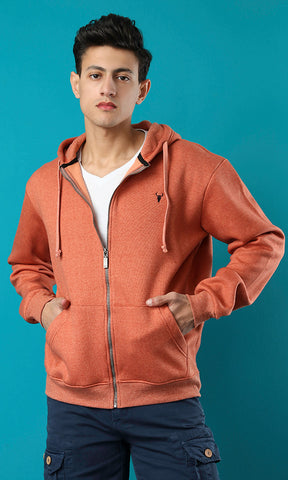 38125 Long Sleeves Basic Zipped Hooded Sweatshirt - Heather Orange