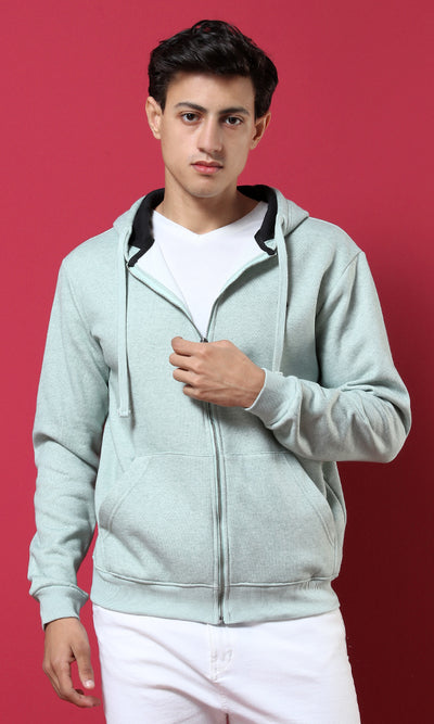 38127 Padded Cotton Basic Hooded Sweatshirt - Heather Mint Green