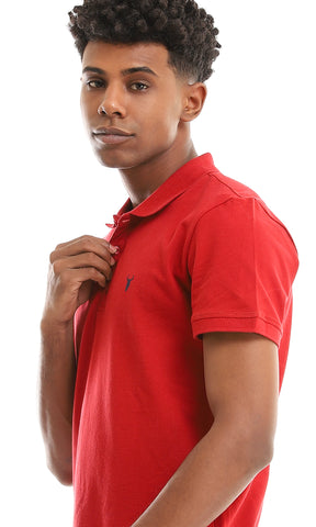 38134 Basic Maroon Buttoned Summer Polo Shirt