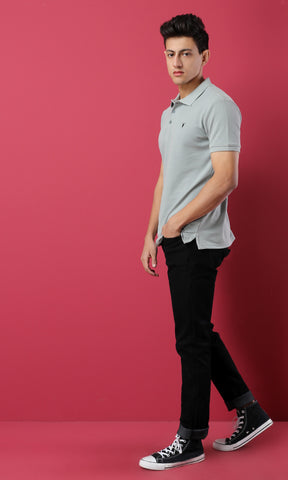 38135 Basic Soild Short Sleeves Buttoned Pique Polo Shirt