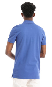 38137 Basic Casual Buttoned Polo Shirt - Royal Blue