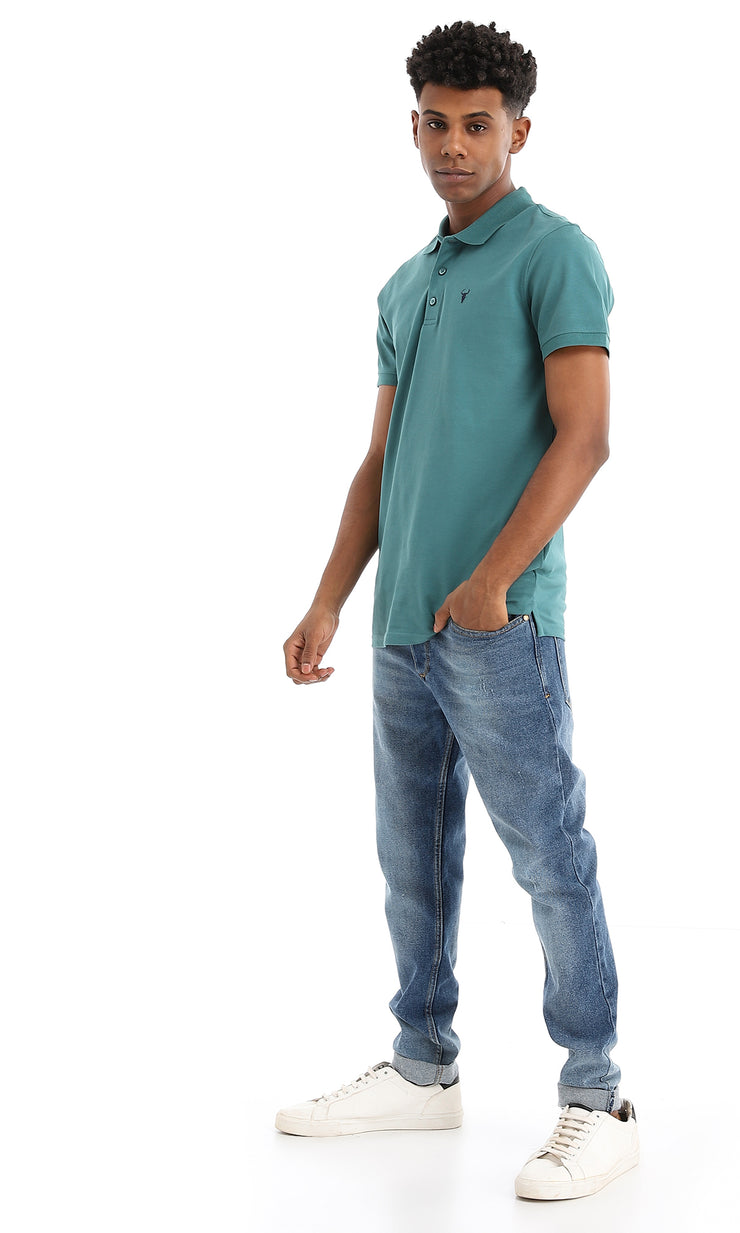 38138 Basic Teal Green Buttoned Summer Polo Shirt