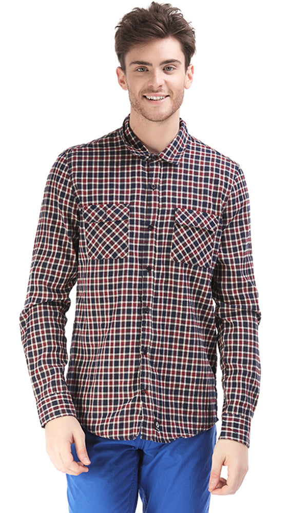 checkered shirt-tow front-pockets