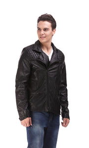 Quilted Faux Leather Jacket - Black