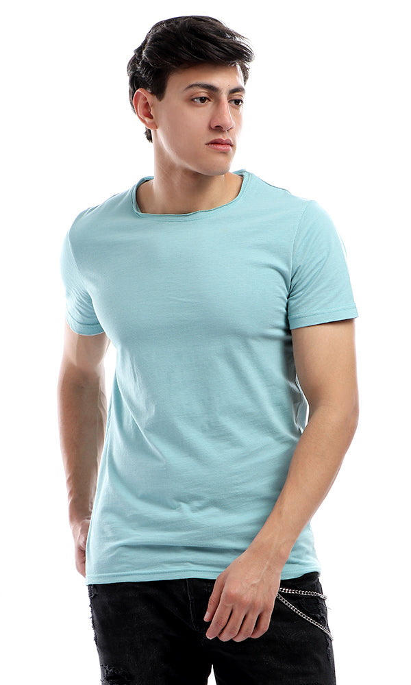 Unfinished Round Neck T-Shirt-Short Sleeves