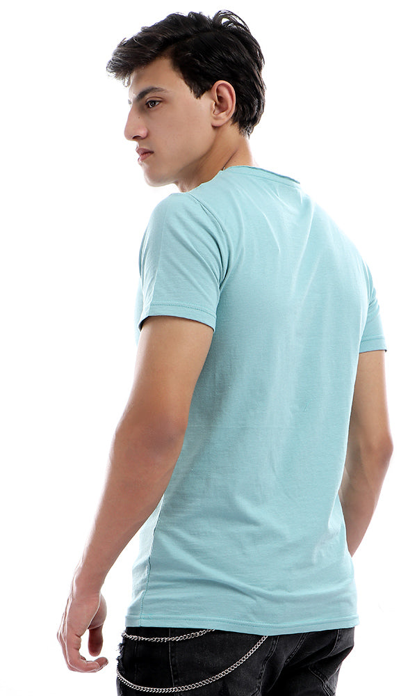 38168 Round Collar Basic Half Sleeves T-shirt - Light Blue