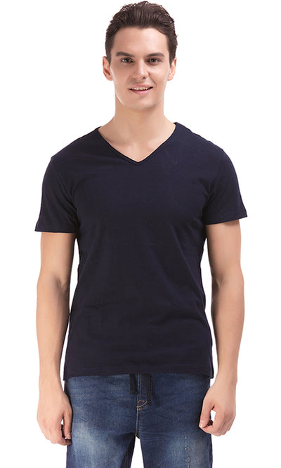 38175 Solid V-Neck T-Shirt - Navy Blue