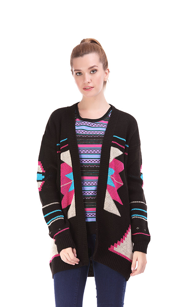 Jacquard Open-Front Cardigan