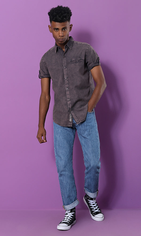 Washed Out Buttoned Shirt - Dark Grey