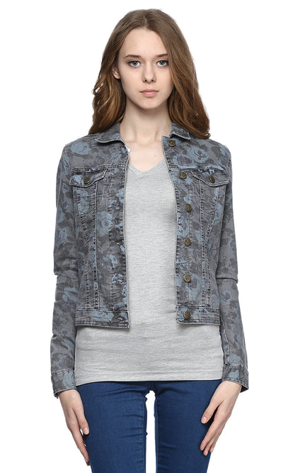 38236 Floral Denim Shirt  - Grey