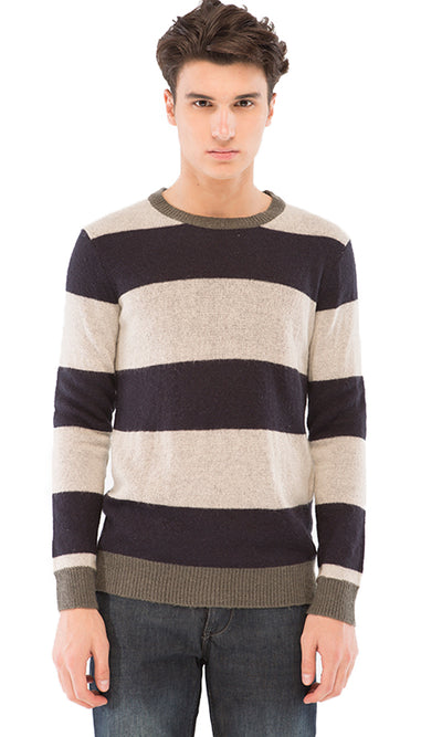 38289 Wide Striped Pullover - Navy Blue & Light Grey