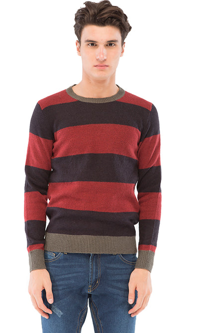 38290 Wide Striped Pullover - Black & Dark Red