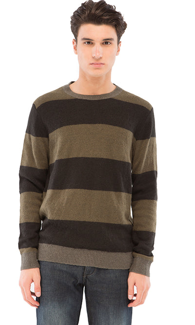 38291 Wide Striped Pullover - Olive & Black