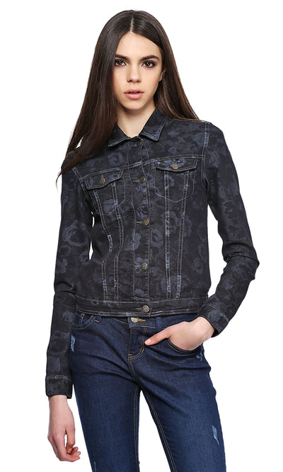 38393 Floral Denim Jacket - Dark Jeans