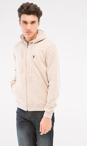 38397 Winter Cosy Zipped Basic Hoodie - Heather Beige