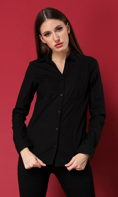 38401 Turn Down Collar Basic Buttoned Shirt - Black