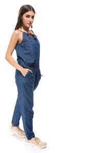 38597 Spaghetti Sleeves Slip On Blue Jeans Jumpsuit