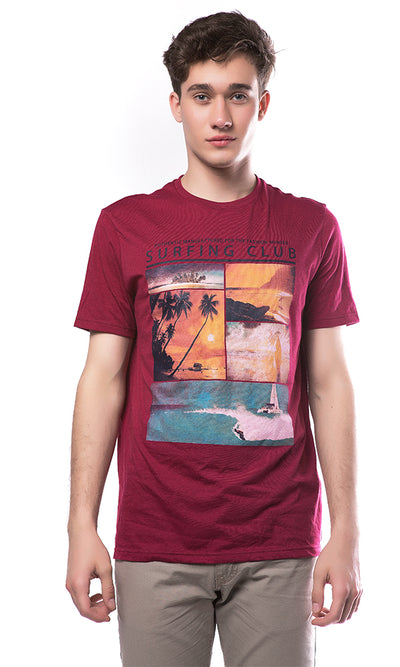 38729 Graphic Printed T-Shirt - Burgundy