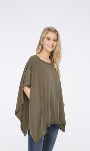 38741 Solid Poncho Top - Olive