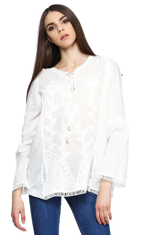embroidered shirt-lace trims-long sleeves