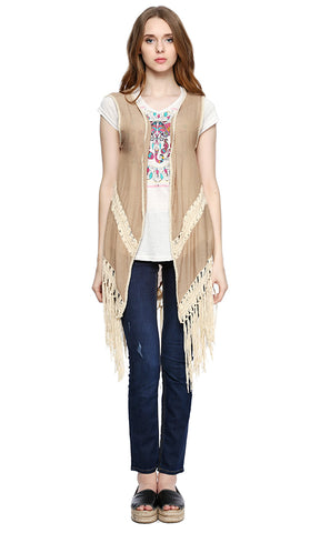 38776 Fringed Sleeveless Vest - Coffee
