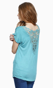 Back Lace Top - Blue