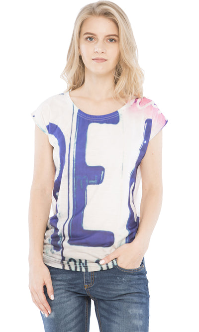 38781 Scoop Collar Printed T-Shirt - White