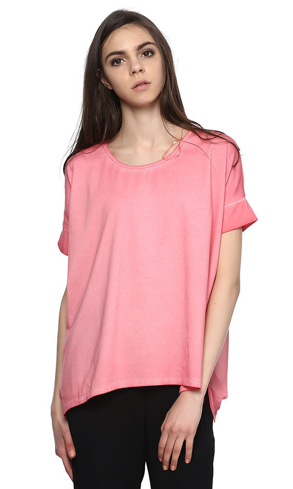 Oversized Top-High Low-Short Sleeves