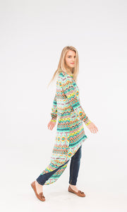 38837 High-Low Patterned Shirt - Muticolour