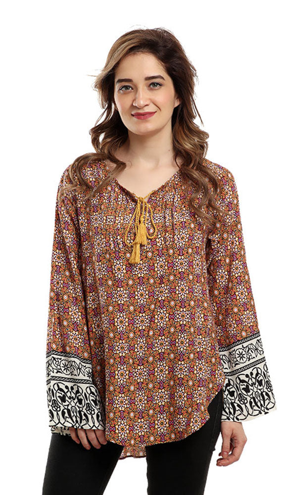 Patterned Long Sleeves Blouse - Yellow