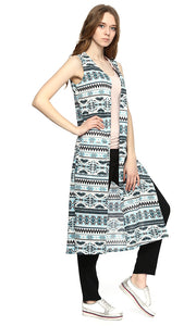 38883 Patterned Sleeveless Long Vest -Blue & White