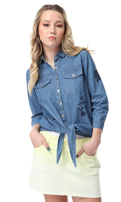 38888 Embroidered Long Sleeves Denim Shirt Dark Blue Jeans