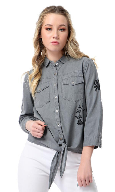 38889 Embroidered Flowers Dark Grey Shirt With Bow Tie