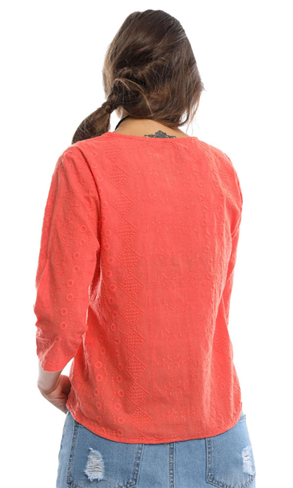 Knot To Mention Blush Hot Orange Knotted Shirt